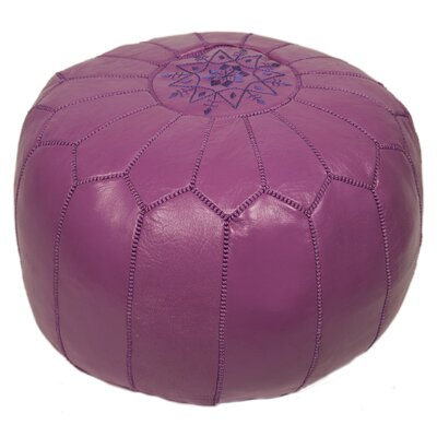 Clarkdale Embroidered Pouf Ottoman Upholstery: Lavender