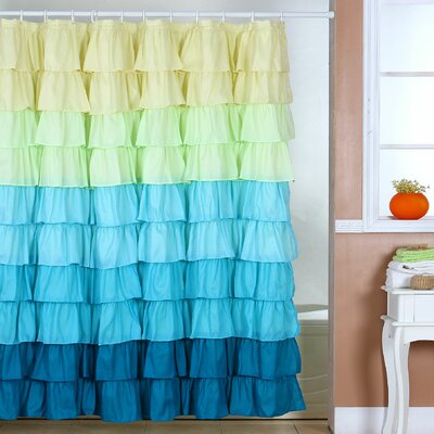Bahriya Shower Curtain Color: Yellow / Green / Blue