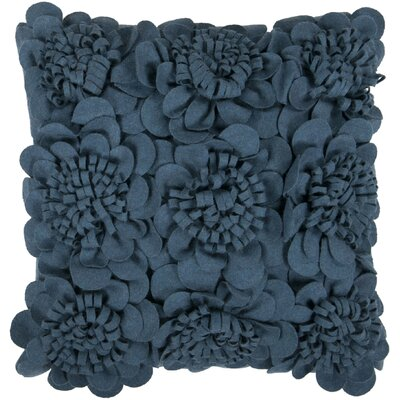 Dolph Blossom Wool Throw Pillow Size: 18 H x 18 W x 4 D, Color: Marine Blue, Filler: Down