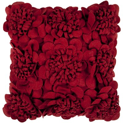 Dolph Blossom Wool Throw Pillow Size: 22 H x 22 W x 4 D, Color: Dark Red, Filler: Down