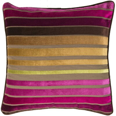 Radad Sparkling Stripe Throw Pillow Size: 22, Color: Fuchsia/Plum/Gold/Green, Filler: Down