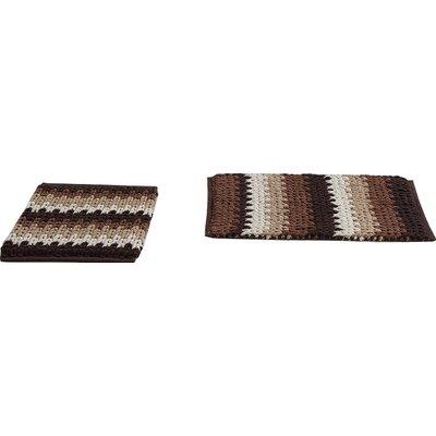 Jasmine Jasmine Chenille Bath Rug Color: Chocolate/Taupe, Size: 30 W x 20 L