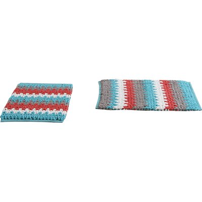 Jasmine Jasmine Chenille Bath Rug Color: Blue/Coral, Size: 30 W x 20 L