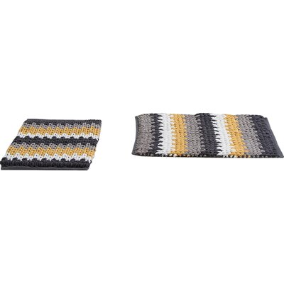 Jasmine Jasmine Chenille Bath Rug Color: Gray/Yellow, Size: 30 W x 20 L