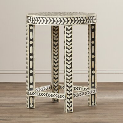 Brock Round Bone Inlay End Table