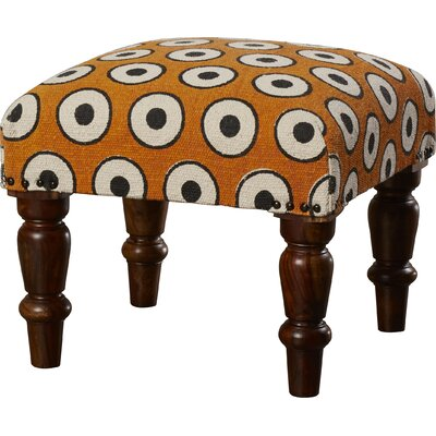 Samina Ottoman Upholstery: Orange/Black, Finish: Brown