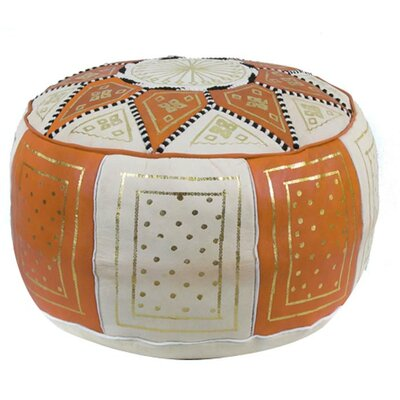 Mouassine Moroccan Pouf Leather Ottoman Upholstery: Orange / Beige
