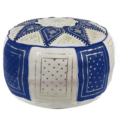 Carnuel Moroccan Pouf Leather Ottoman Upholstery: Navy / Beige