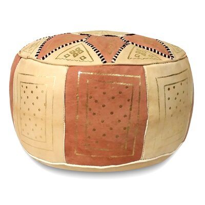 Carnuel Moroccan Leather Pouf Upholstery: Dark Pink / Beige