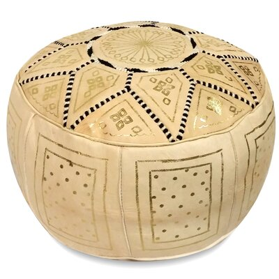 Carnuel Moroccan Pouf Leather Ottoman Upholstery: Beige