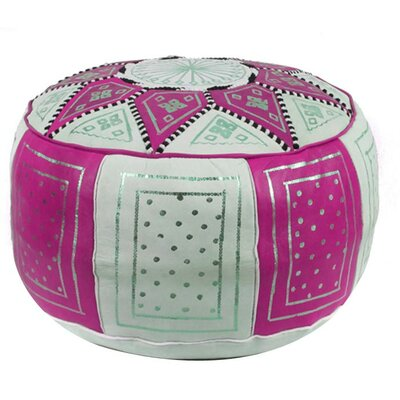 Carnuel Moroccan Pouf Leather Ottoman Upholstery: Fuchsia / Beige