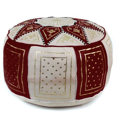 Carnuel Moroccan Leather Pouf Upholstery: Chocolate / Beige