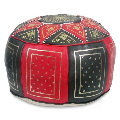 Carnuel Moroccan Leather Pouf Upholstery: Black / Red