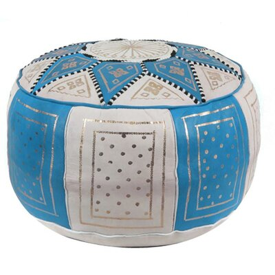 Carnuel Moroccan Leather Pouf Upholstery: Blue / Beige