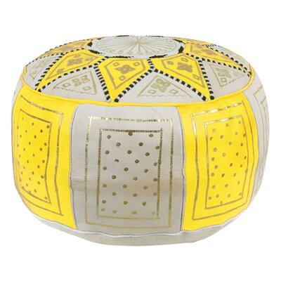 Carnuel Moroccan Leather Pouf Upholstery: Yellow / Beige