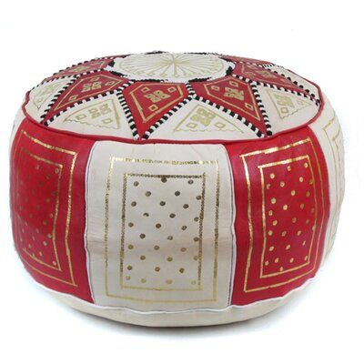 Carnuel Moroccan Leather Pouf Upholstery: Red / Beige