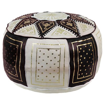 Mouassine Moroccan Pouf Leather Ottoman Upholstery: Black / Beige