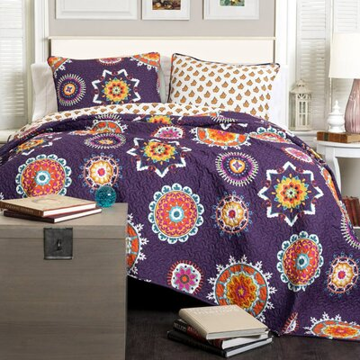 Campos Cotton 3 Piece Coverlet Set Size: Full / Queen, Color: Purple