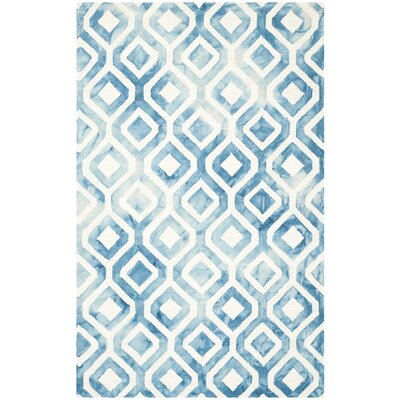 Euphemia Hand-Woven Ivory/Blue Kids Rug Rug Size: Rectangle 4 x 6