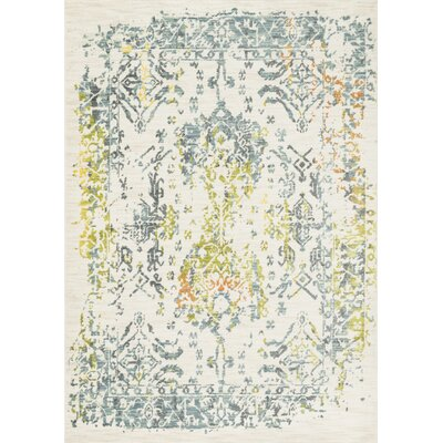 Kheir Ivory/Slate Area Rug Rug Size: 77 x 105