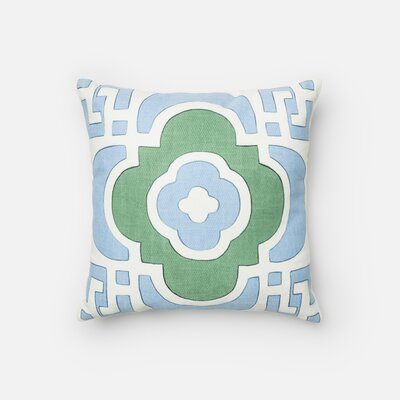 Assafa 100% Cotton Throw Pillow Color: Light Blue/Green