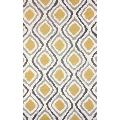 Mosca Hand-Woven Yellow/Gray Area Rug Rug Size: 76 x 96
