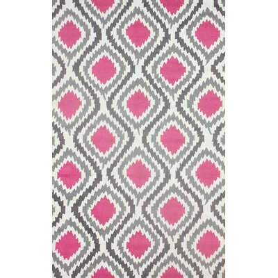 Mosca Hand-Hooked Pink Area Rug Rug Size: 86 x 116