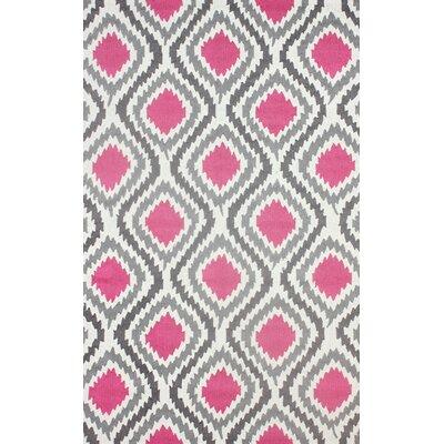 Garrard Hand-Hooked Pink Area Rug Rug Size: 86 x 116