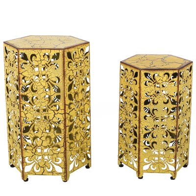 Caroline 2 Piece Nesting Tables Finish: Antique Yellow