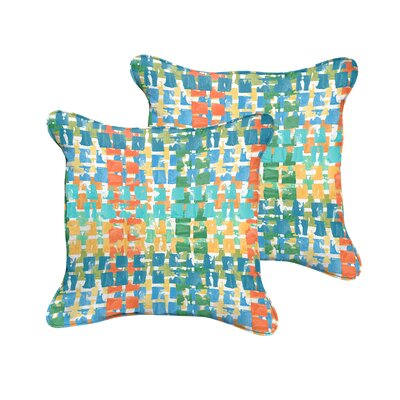 Clare Indoor/Outdoor Throw Pillow Size: 18 H x 18 W, Color: Blue / Green
