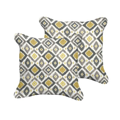 Socoma Indoor/Outdoor Throw Pillow Size: 18 H x 18 W, Color: Gold / Grey