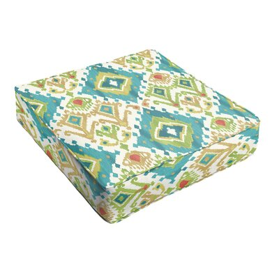 Camille Indoor/Outdoor Ottoman Cushion Fabric: Blue Green