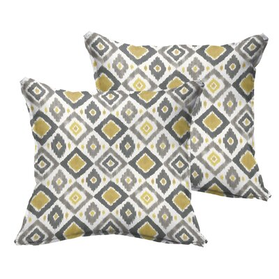 Socoma Flange Indoor/Outdoor Throw Pillow Size: 22 x 22, Color: Gold/Grey