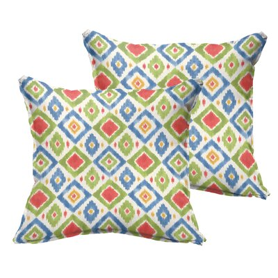 Socoma Flange Indoor/Outdoor Throw Pillow Size: 18 x 18, Color: Red/Blue