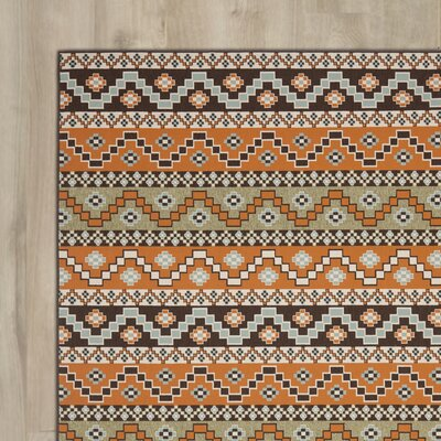Zahr Orange/Brown Area Rug Rug Size: Round 67