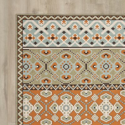 Zahr Green/Orange Area Rug Rug Size: 67 x 96