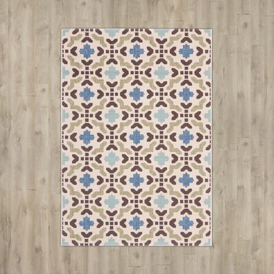 Elvire Cream/Aqua Indoor/Outdoor Area Rug Rug Size: 53 x 77