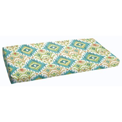 Cecelia Fabric Outdoor Bench Cushion Color: Blue/Green