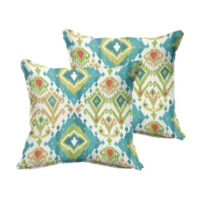 Cecelia Flange Square Indoor/Outdoor Throw Pillow Size: 18 x 18, Color: Blue/Green