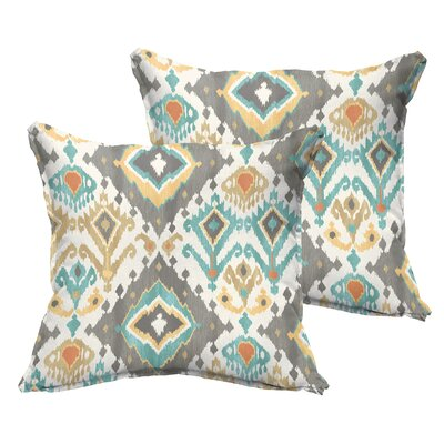 Cecelia Flange Square Indoor/Outdoor Throw Pillow Size: 18 x 18, Color: Grey/Green