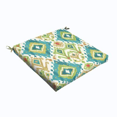 Briget Outdoor Dining Chair Cushion Size: 19 L x 19 W, Fabric: Blue / Green