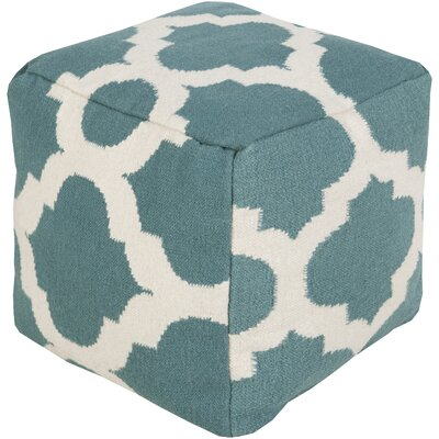 Aalia Pouf Ottoman Upholstery: Light Aqua / Green