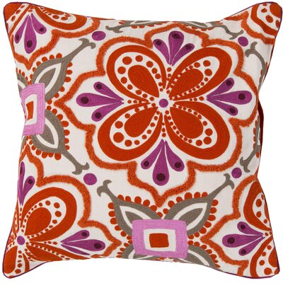 Embroidered Cotton Throw Pillow Color: Orange, Fill Material: Down