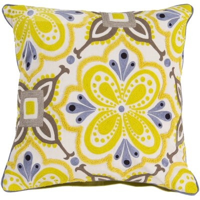Embroidered Cotton Throw Pillow Color: Yellow, Fill Material: Polyester
