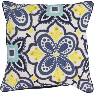 Embroidered Cotton Throw Pillow Color: Blue, Fill Material: Down