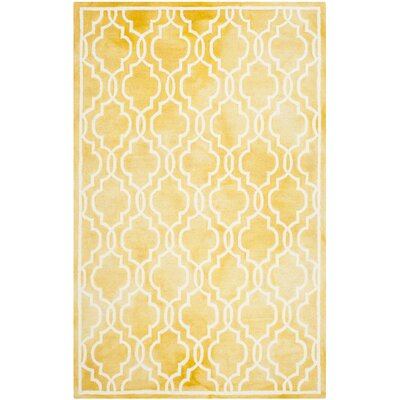 Hand-Tufted Wool Gold / Ivory Area Rug Rug Size: Rectangle 5 x 8