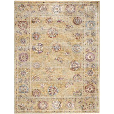 Gold Area Rug Rug Size: 8 x 11