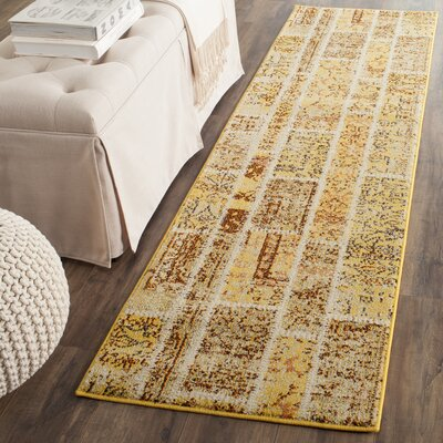Yellow Area Rug Rug Size: Runner 22 x 8