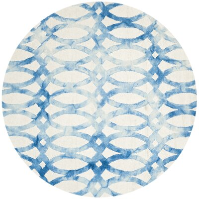 Hand-Tufted Ivory/Blue Area Rug Rug Size: Round 5