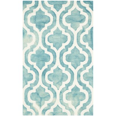 Fairfax Hand-Tufted Turquoise/Ivory Area Rug Rug Size: 8 x 10